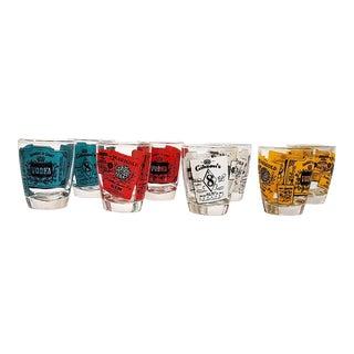 Vintage Alcohol Advertising Motif Shot Glasses For Sale
