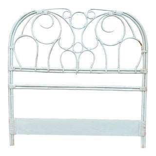 Distressed Rattan Headboard For Sale