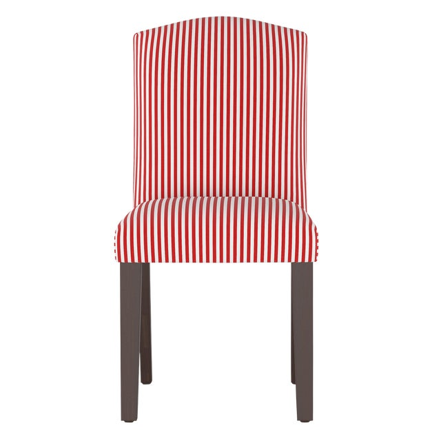Camel Back Dining Chair in Candy Stripe Red Oga For Sale