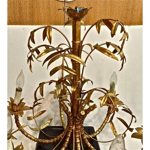 Lovely mid century gold leafed faux bamboo chandelier decaso asian mid century gold leafed faux bamboo chandelier for sale image 3 of 4 aloadofball Images