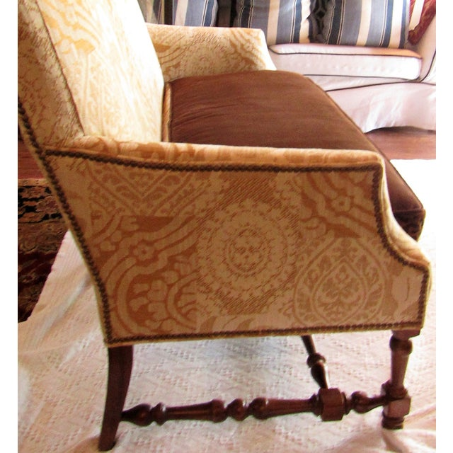 Contemporary Southwood Damask and Chenille Leopard Print Settee with Pillows - 3 Pieces For Sale In West Palm - Image 6 of 12