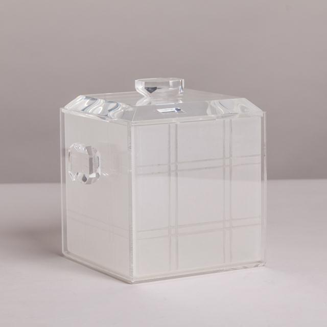 Mid-Century Modern A Lucite Icebucket with Opaque Grid Detail Liner 1970s For Sale - Image 3 of 3
