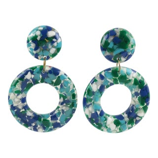 Dangle Donut Lucite Clip on Earrings Blue Green Inclusions For Sale