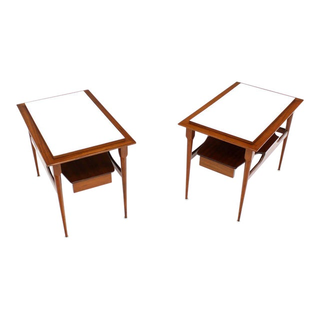 Pair of Mid Century Modern Walnut One Drawer End Tables or Night Stands For Sale