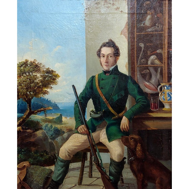 Italian Portrait of a Hunter W/His Dog-19th Century Italian School-Oil Painting For Sale - Image 3 of 8