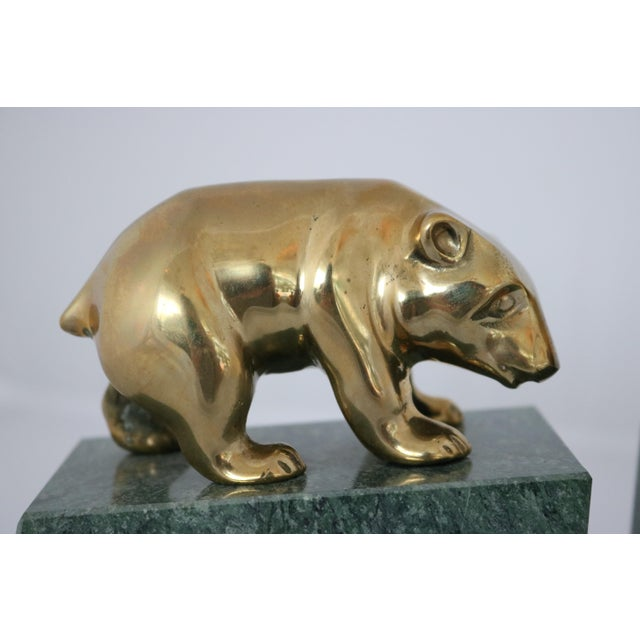 Contemporary Brass Bull & Bear on Marble Bookends - Image 4 of 7