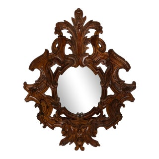 Northern Italian Baroque Style 'Green Man' Wood Frame Mirror For Sale