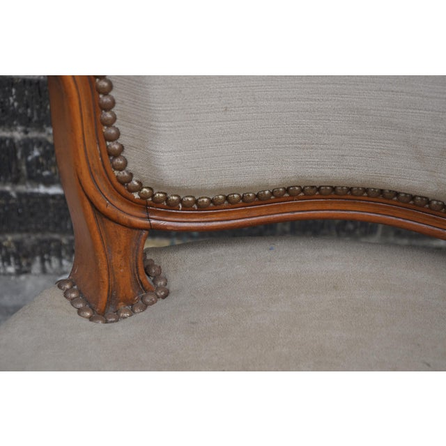 Tan Vintage French Taupe Velvet Walnut Louis XV Rococo Style Armchair Fauteuil For Sale - Image 8 of 12