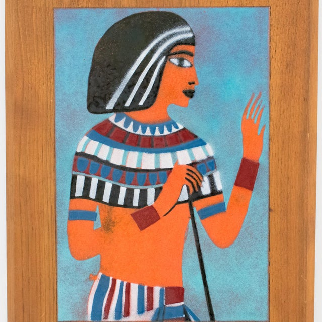 Judith Daner Midcentury Enamel on Copper Artwork Wall Panel Egyptians, a Pair For Sale - Image 9 of 13
