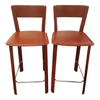 Contemporary Italian Red Leather Bar Stools - a Pair