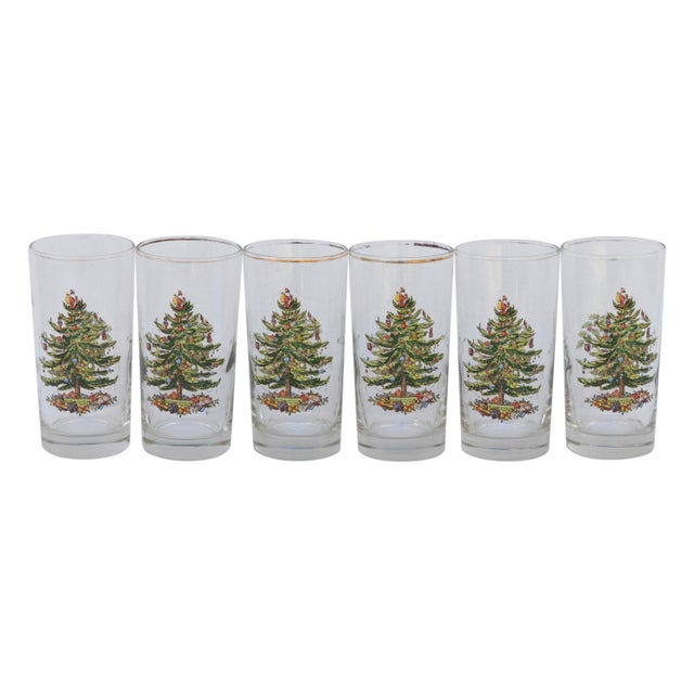 Vintage Christmas Tree Glasses - Set of 6 For Sale In New York - Image 6 of 6