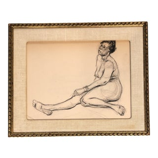 Vintage Female Nude Charcoal Study Drawing Vintage Frame For Sale