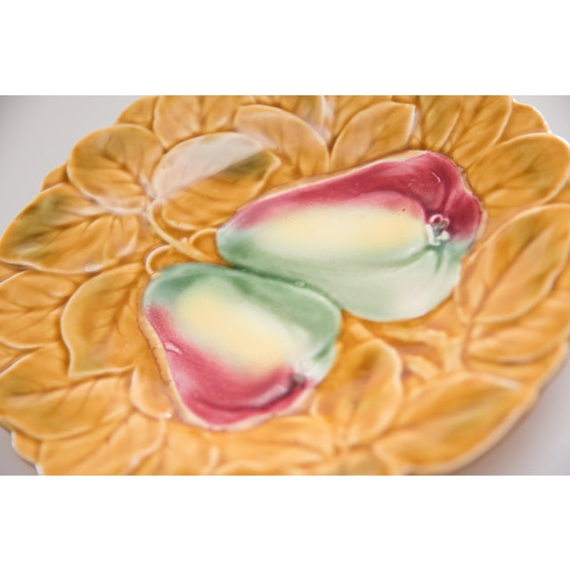 Mid 20th Century French Majolica Fruit Plates, Set of 2 For Sale - Image 5 of 8