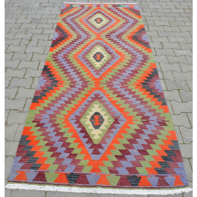 "Handmade Turkish Kilim Runner - 3'8"" X 9'8"" - Image 3 of 10"