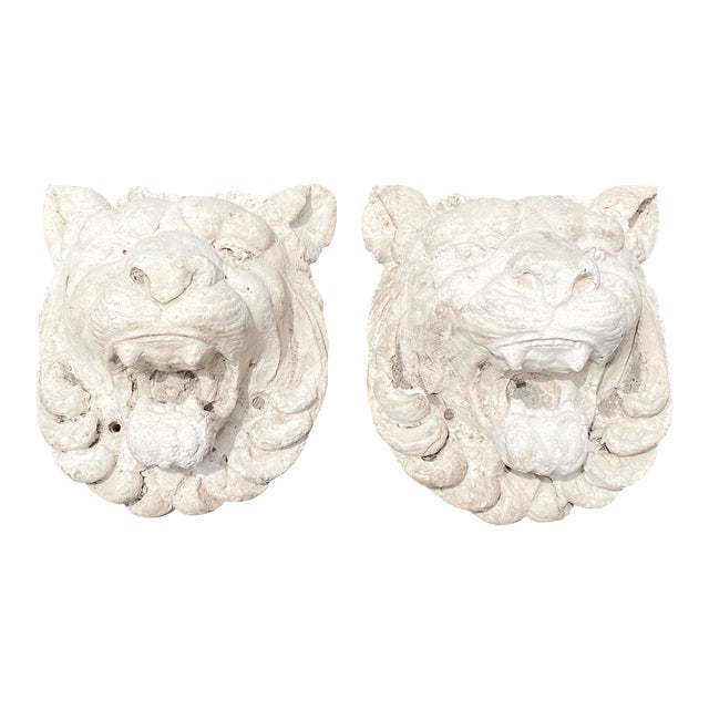 Vintage Pair of Cast Stone Lion Heads For Sale