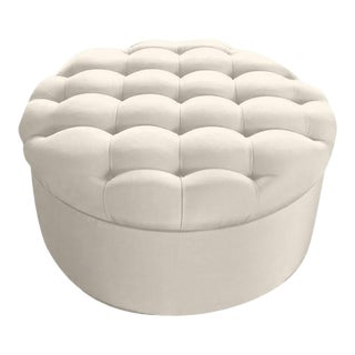 Biscuit Tufted Round Ottoman in Stone Linen For Sale
