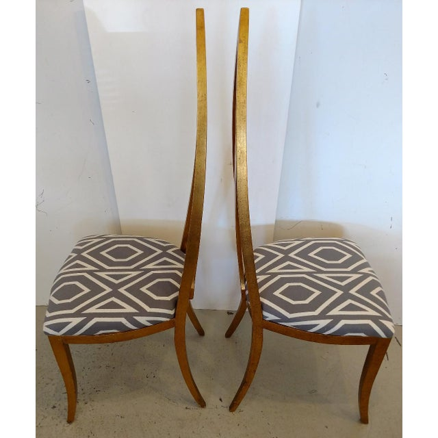 1960's Cathedral Arch-Backed Side Chairs, Gold-Leafed/ Shell Inlaid, a Pair For Sale In Miami - Image 6 of 12