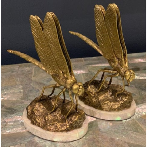 Maitland Smith Two Satina finish cast brass dragonfly business card holders, Mother of pearl base. Sku: 8130-12