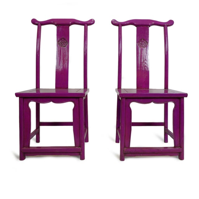Purple Ming Dining or Side Chair For Sale In Los Angeles - Image 6 of 7