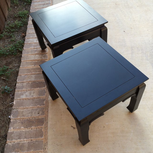 Black Chinoiserie Side Tables - A Pair - Image 4 of 7