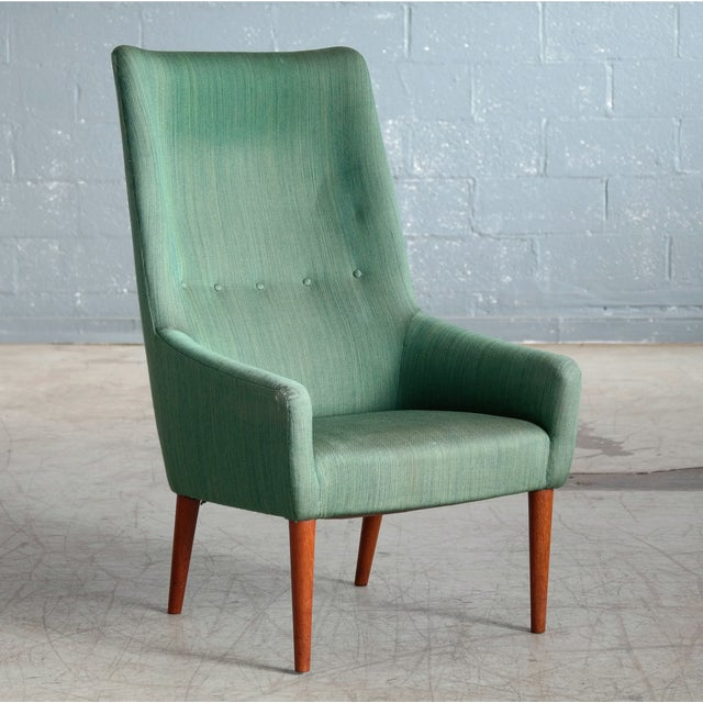 Jacob Kjær Danish 1950's Green Easy Chair With Footstool by Jacob Kjaer For Sale - Image 4 of 12