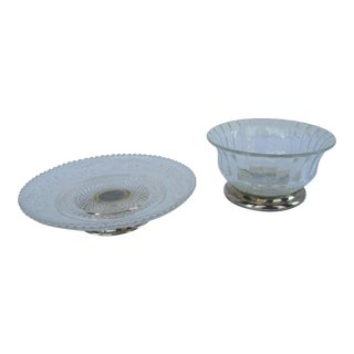 Vintage Silver-Plate and Glass Bon Bon Dishes - A Pair For Sale