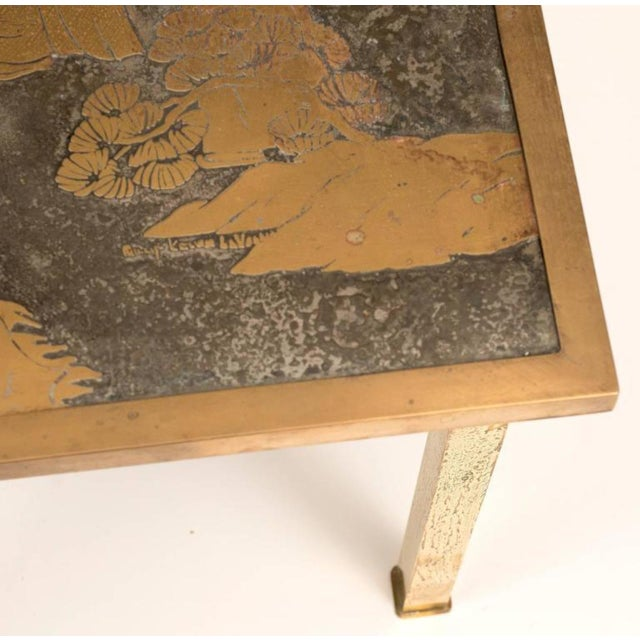 Bronze and Pewter Ming Side Table by Philip and Kelvin LaVerne, 1960s For Sale - Image 4 of 9