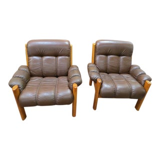 Vintage Mid Century Modern Ekornes Scandinavian Solid Teak and Leather Lounge Chairs- A Pair For Sale