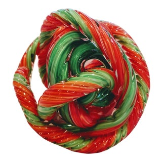 Scarlet & Pine Green Hand Blown Cased Glass Sculptural Knot For Sale