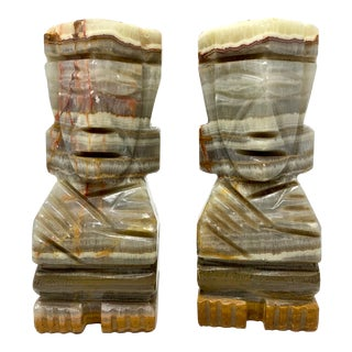 Mid-Century Carved Stone Tiki Bookends - a Pair For Sale