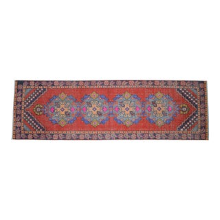 Distressed Oushak Rug Runner - Faded Colors Hallway Rug 3' X 9'11″ For Sale