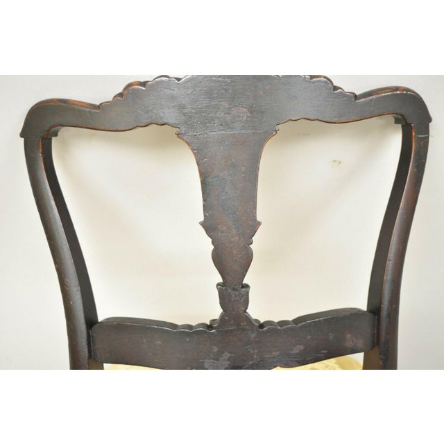 Antique French Victorian Carved Rosewood Small Petite Accent Side Chairs - Pair For Sale - Image 10 of 13