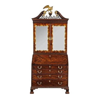 Period Chippendale Figured Mahogany Secretary Bookcase, circa 1765 For Sale