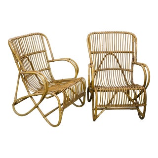 Rohe Noordwolde Mid-Century Rattan and Bamboo Lounge Chairs - a Pair For Sale