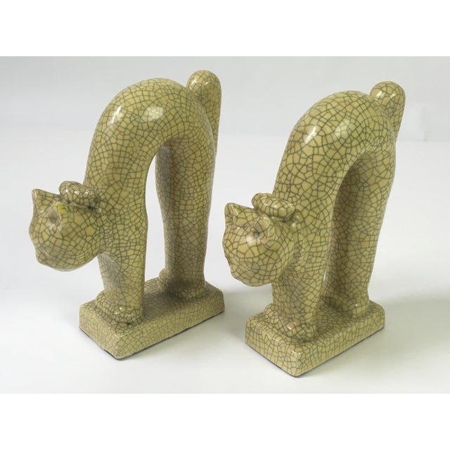 1940's Art Deco Ceramic Cat Bookends - A Pair For Sale - Image 5 of 6