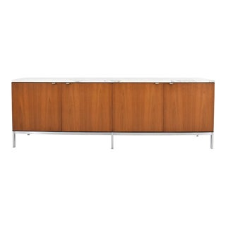 Florence Knoll Walnut Credenza With Marble Top For Sale