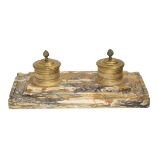 1810-1820 Charles X Marble & Bronze Gilt Ink Stand For Sale