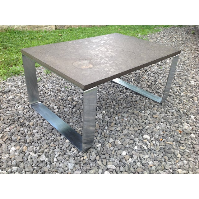 Vintage Fossil Covered Cast Stone Top Coffee Table - Image 2 of 9