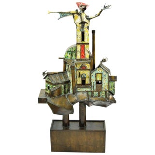 Surrealist Bronze Painted Metal Sculpture For Sale