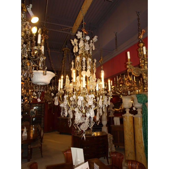 Gold Antique Chandelier. Rock Crystal Chandelier by Baccarat For Sale - Image 8 of 8