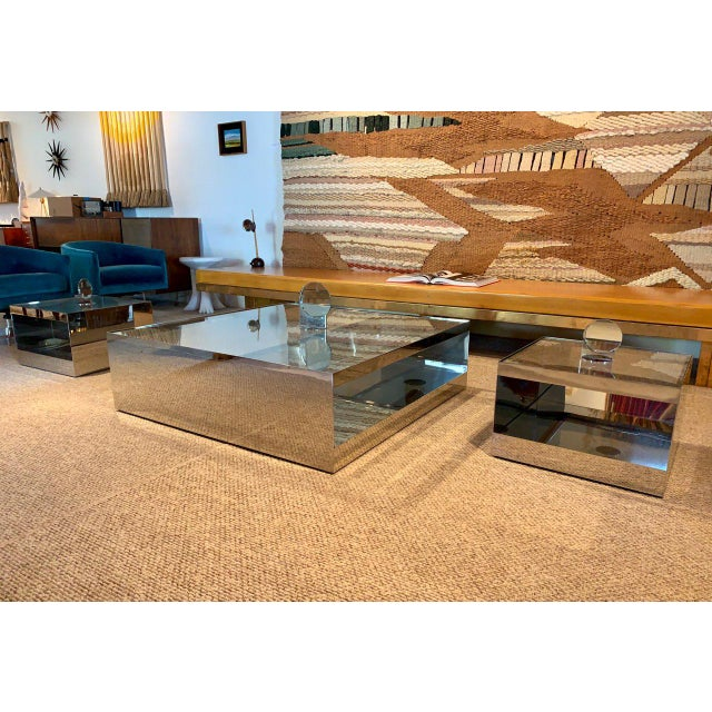 Low Rolling Coffee Table Model 6048T designed by legendary Joeseph D'Urso for Knoll - 1981. Constructed of mirror polished...