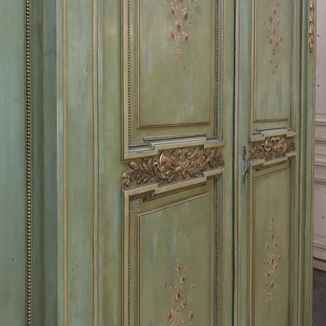 Antique Italian Neoclassical Painted Armoire For Sale - Image 10 of 13