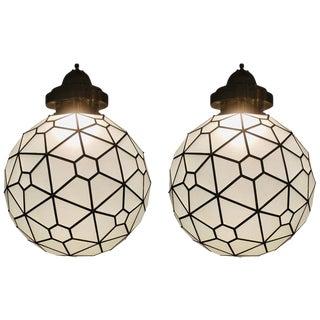 Art Deco Pendant Globe Shape Milk Glass and Brass Chandelier - a Pair For Sale