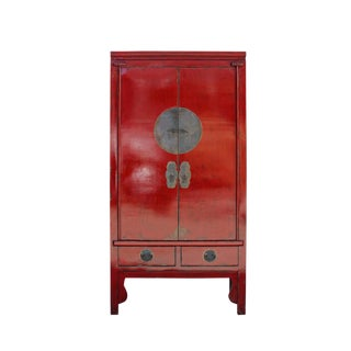 Chinese Distressed Red Tall Wedding Armoire Wardrobe Tv Cabinet