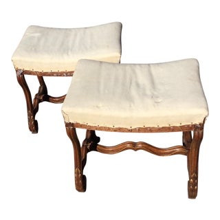 Carved Walnut Benches - A Pair For Sale