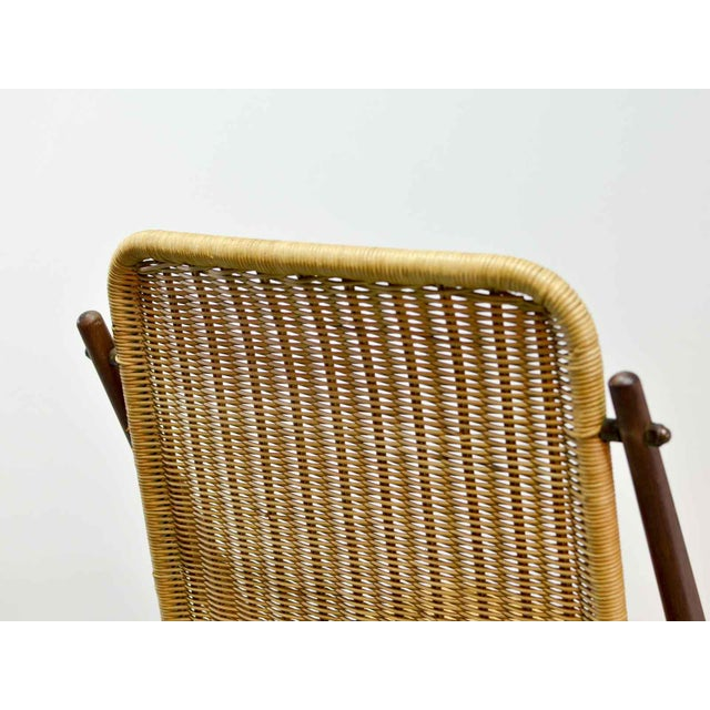 Tan Dutch Design Wicker and Teak Wood Side Chair in Style of Dirk van Sliedregt, 1950s For Sale - Image 8 of 12