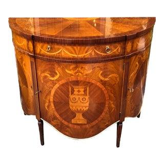 Fine Italian Marquetry Scenic Inlaid Demilune Cabinet For Sale
