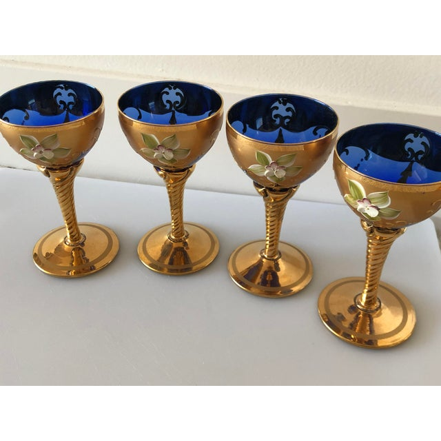 Italian Murano Blue Glass and 24k Gold Leaf Decanter Set With Four Wine Glasses - Set of 5 For Sale - Image 3 of 13