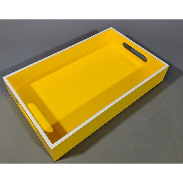 Gold Leaf Yellow and White Lacquered Tray For Sale - Image 7 of 10