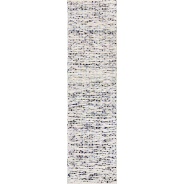 """Textile Erin Gates Dartmouth Bartlett Blue Hand Made Wool Runner 2'3"""" X 8' For Sale - Image 7 of 7"""